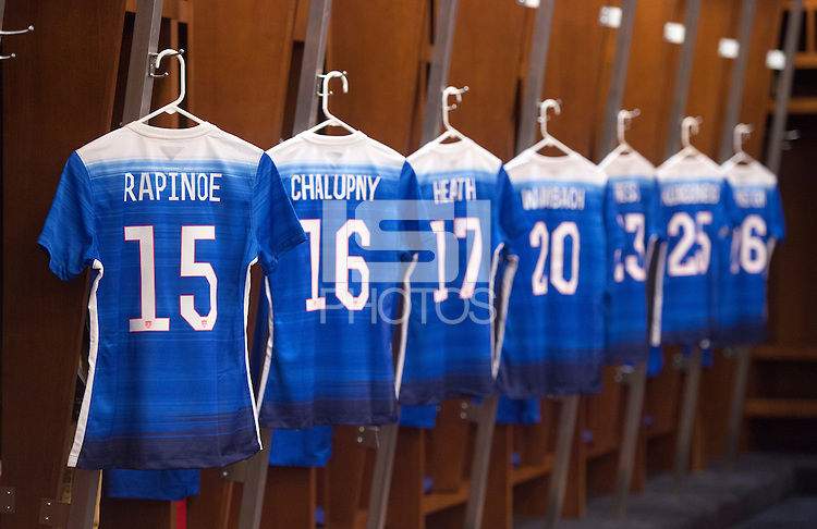 St. Louis, MO - April 4, 2015: The USWNT wore their blue Nike uniforms while playing  New Zealand at a friendly at Busch Stadium.