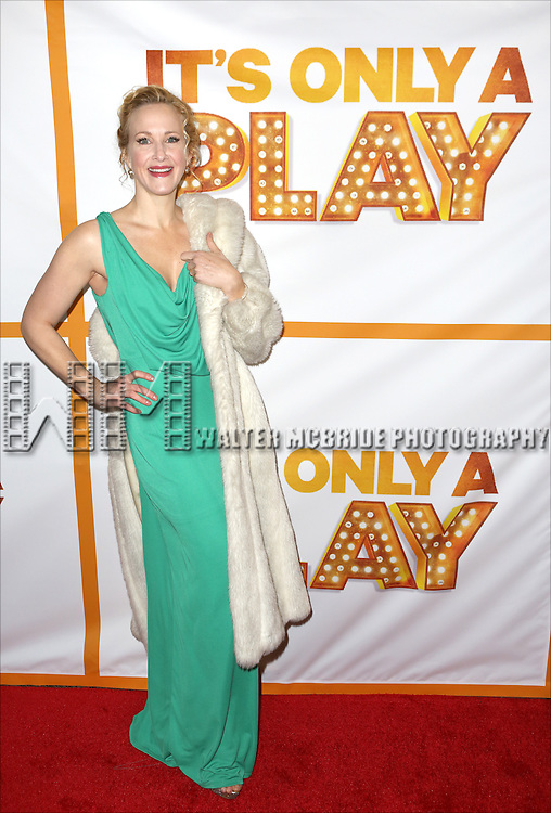 Katie Finneran and the cast from 'It's Only A Play' head to their new home at the Bernard B. Jacobs Theatre on January 23, 2014 in New York City.