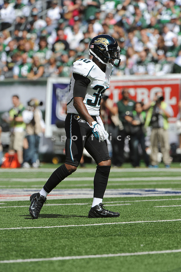 DREW COLEMAN, of the Jacksonville Jaguars, in action during the Jaguars game against the New York Jets on September 18, 2011 at MetLife Stadium in East Rutherford, NJ.