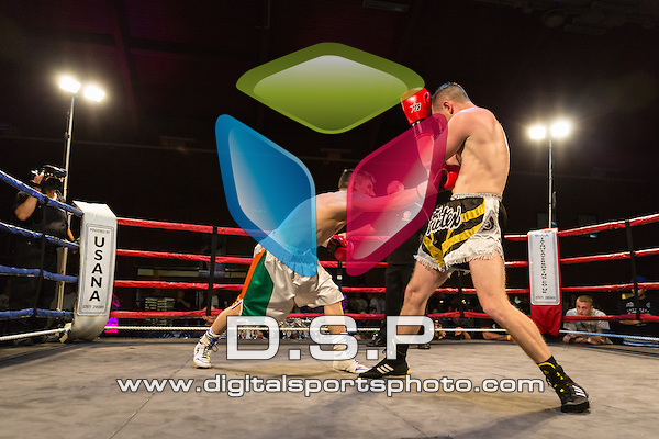 Danny Mace VS James Mangan. Photo by: Stephen Smith<br /> <br /> Warrior Fight Nights 5 - Sunday 28th September 2014. The Littledown Centre, Bournemouth, Dorset, United Kingdom.