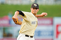 Wake Forest Demon Deacons starting pitcher Brian Holmes #45 in action against the Miami Hurricanes during the 2012 ACC Baseball Championship at NewBridge Bank Park on May 25, 2012 in Winston-Salem, North Carolina.  The Hurricanes defeated the Demon Deacons 6-3.  (Brian Westerholt/Four Seam Images)