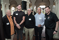 From left, Larry Layne '71, Bryan Scott '17, Ron Botchen '57, Jim Mora '57 and Casey Landry.<br /> Occidental College alumni, staff and other members of the Oxy community gather in support of the football program, March 10, 2018 on Branca Patio.<br /> In January 2018 a 16-member task force of trustees, faculty, students, staff and alumni met to determine the fate of the football program in the wake of the premature end of the 2017 season. The College is moving full speed ahead with preparations for the 2018 season, led by the Football Action Team.<br /> (Photo by Marc Campos, Occidental College Photographer)
