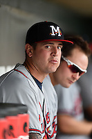 Mississippi Braves pitcher David Bromberg (30) in the dugout during a game against the Montgomery Biscuits on April 22, 2014 at Riverwalk Stadium in Montgomery, Alabama.  Mississippi defeated Montgomery 6-2.  (Mike Janes/Four Seam Images)