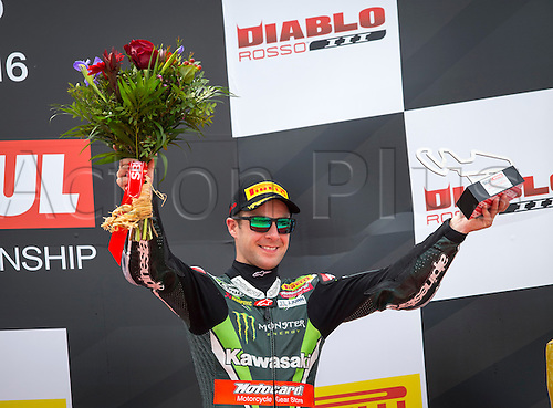 03.04.2016. Motorland, Aragon, Spain, World Championship Motul FIM of Superbikes. Jonathan Rea #1, Kawasaki ZX-10R rider of Superbike  celebrates the second place  the Race  in the World Championship Motul FIM of Superbikes from the Circuito de Motorland.