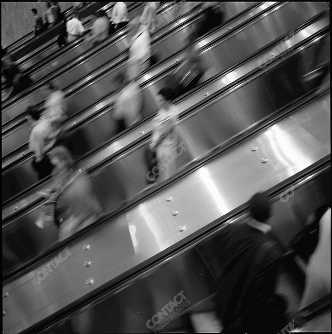 Escalators to the PATH trains beneath the World Trade Center, New York City, New York, USA, August 2001