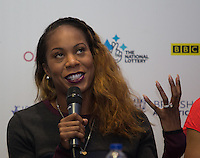 Sanya Richards-Ross of USA (400m) during Pre Event Press Conference at Grange Tower Bridge Hotel, Prescott Street, The Sainsbury's Anniversary Games Diamond League Event. London, England on 23 July 2015. Photo by Andy Rowland.