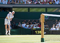 Kevin Anderson (RSA) serves during the Gentlemen's Singles Final against Novak Djokovic (SRB)