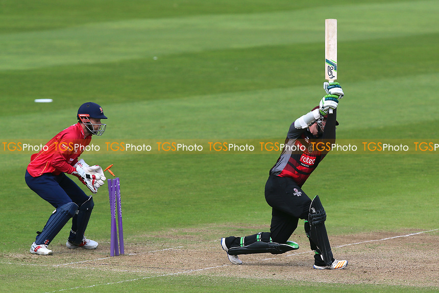 Steven Davies of Somerset is bowled out by Simon Harmer as James Foster looks on from behind the stumps during Somerset vs Essex Eagles, Royal London One-Day Cup Cricket at The Cooper Associates County Ground on 14th May 2017
