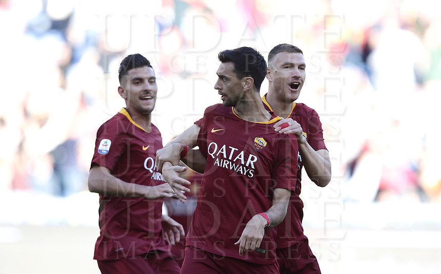 Football, Serie A: AS Roma - Cagliari, Olympic stadium, Rome, April 27, 2019. <br /> Roma's Javier Pastore (c) celebrates after scoring with his teammates Edin Dzeko (r) and Lorenzo Pelegrini (l) during the Italian Serie A football match between AS Roma and Cagliari, on April 27, 2019. <br /> UPDATE IMAGES PRESS/Isabella Bonotto