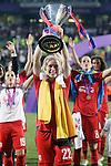 Olympique Lyonnais' Pauline Bremer celebrates the victory in the UEFA Women's Champions League 2015/2016 Final match.May 26,2016. (ALTERPHOTOS/Acero)