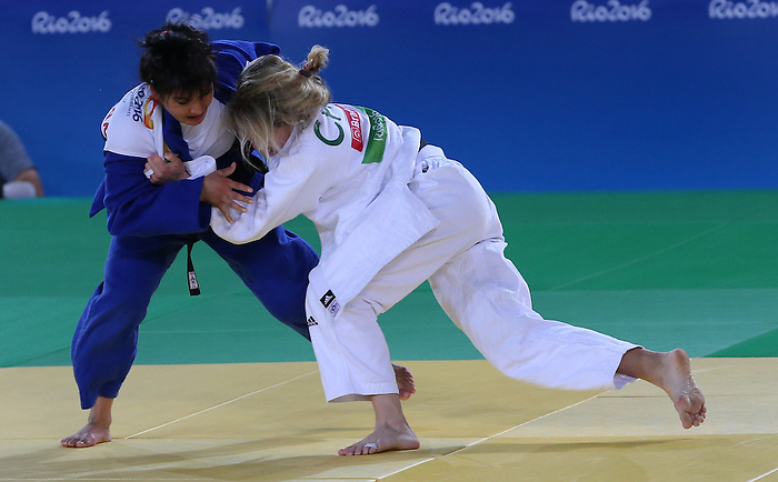 Rio de Janeiro-8/9/2016-Priscilla Gagne competes against Sevinch Salaeva from  Uzbekistan in her 52kg Judo bronze medal match at the 2016 Paralympic Games in Rio. Photo Scott Grant/Canadian Paralympic Committee