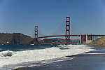 San Francisco: Baker Beach with Golden Gate Bridge in background.  Photo # 2-casanf83314.  Photo copyright Lee Foster