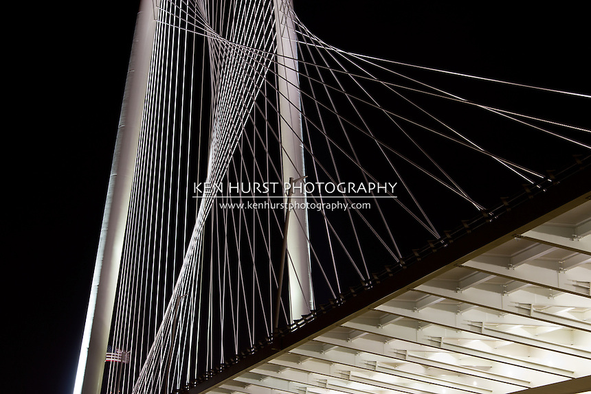 The newly constructed (2012) Margaret Hunt Hill bridge, designed by Santiago Calatrava, in Dallas, Texas.