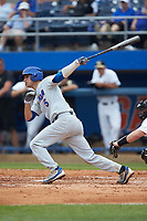 Dalton Guthrie (5) of the Florida Gators follows through on his swing against the Wake Forest Demon Deacons in the completion of Game Two of the Gainesville Super Regional of the 2017 College World Series at Alfred McKethan Stadium at Perry Field on June 12, 2017 in Gainesville, Florida. The Demon Deacons walked off the Gators 8-6 in 11 innings. (Brian Westerholt/Four Seam Images)