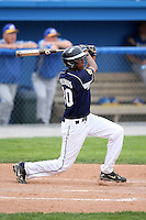 April 15,2010:  Shortstop John Polonius (10) of the Genesee Community College (GCC) Cougars Men's Baseball Team hits a home run over the center field wall vs. Alfred State at Dwyer Stadium in Batavia, NY.  Photo Copyright Mike Janes Photography 2010