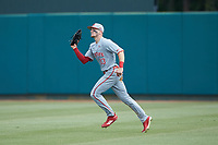 North Carolina State Wolfpack right fielder Brock Deatherage (13) catches a fly ball during the game against the Northeastern Huskies at Doak Field at Dail Park on June 2, 2018 in Raleigh, North Carolina. The Wolfpack defeated the Huskies 9-2. (Brian Westerholt/Four Seam Images)