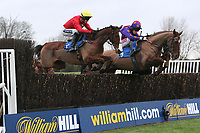 Glebehall Bay ridden by Aidan Coleman and winner Inga Bird (R) ridden by Jake Greenall jump the last in the Betfred Bonus Kings Novices' Handicap Chase at Huntingdon Racecourse, Brampton, Cambridgeshire