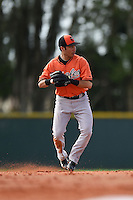 Shortstop Sammy Starr (13) of the Baltimore Orioles organization during a minor league spring training camp day game on March 23, 2014 at Buck O'Neil Complex in Sarasota, Florida.  (Mike Janes/Four Seam Images)