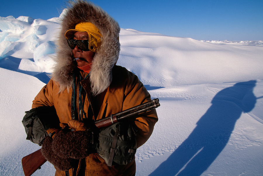 inuit Simon Idlout hunting for seal, nunavut, Canada