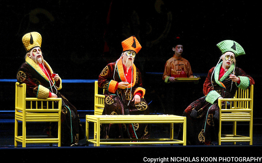 2004 - TURANDOT - Mark T. Panuccio as Pong, In Joon Jang (cq) as Ping and Gregory Schmidt as Pang in Act II of Opera Pacifc's production of Turandot.