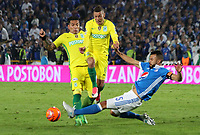 BOGOTA -COLOMBIA, 7-06-2017. Andres Cadavid player of Millonarios fights the ball  agaisnt of  Andres Uribe player of Atletico Nacional .Action game between  Millonarios  and Atletico Nacional during match for quarter finals of the Aguila League I 2017 played at Nemesio Camacho El Campin stadium . Photo:VizzorImage / Felipe Caicedo  / Staff
