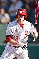 Cameron Seitzer (33) steps to the plate while batting during the NCAA matchup between the University of Arkansas-Little Rock Trojans and the University of Oklahoma Sooners at L. Dale Mitchell Park in Norman, Oklahoma; March 11th, 2011.  Oklahoma won 11-3.  Photo by William Purnell/Four Seam Images