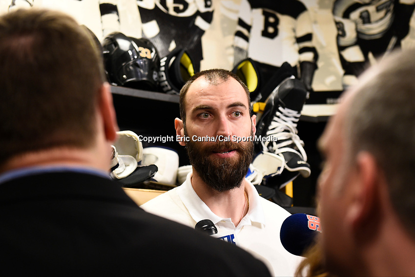 April 13, 2015 - Boston, Massachusetts, U.S. - Boston Bruins defenseman Zdeno Chara (33) speaks to the press at the Boston Bruins final season press conference held at TD Garden in Boston Massachusetts. Eric Canha/CSM