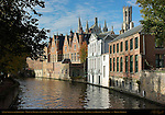 Canal Scene on the Groenerei, Medieval Towers of Landhuis van het Brugse Vrije Mansion of Bruges, Stadhuis Town Hall and Belfort Bell Tower,  Bruges, Brugge, Belgium