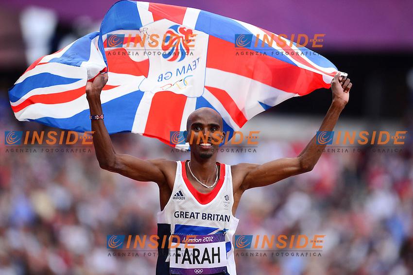 joie de Mohamed Farah (gbr) - finale 5000m hommes .Olimpiadi Londra 2012.London 2012 Olympic Games.foto Insidefoto - Italy ONLY