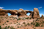 UT: Utah; Arches National Park, The Windows arches        .Photo Copyright: Lee Foster, lee@fostertravel.com, www.fostertravel.com, (510) 549-2202.Image: utarch207.