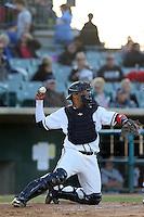 Alfredo Gonzalez (14) of the Lancaster JetHawks in the field during a game against the Lake Elsinore Storm at The Hanger on May 9, 2015 in Lancaster, California. Lancaster defeated Lake Elsinore, 3-1. (Larry Goren/Four Seam Images)