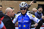 Former Champion Paolo Bettini chats to Matteo Trentin (ITA) Quick-Step Floors team at sign on before the start of the 2017 Strade Bianche running 175km from Siena to Siena, Tuscany, Italy 4th March 2017.<br /> Picture: Eoin Clarke | Newsfile<br /> <br /> <br /> All photos usage must carry mandatory copyright credit (&copy; Newsfile | Eoin Clarke)