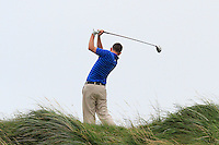 Ian O'Rourke (The Royal Dublin) on the 9th tee during the Quarter Finals of The South of Ireland in Lahinch Golf Club on Tuesday 29th July 2014.<br /> Picture:  Thos Caffrey / www.golffile.ie