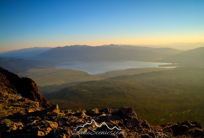 Idaho, Eastern, Caribou-Targhee National Forest. Henry's Lake as seen at dawn from Sawtell Peak.