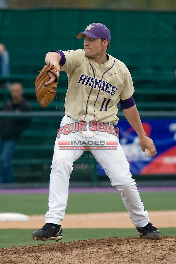 April 27, 2008: University of Washington's Nick Haughian delivers a pitch against UCLA during a Pac-10 game at Husky Ballpark in Seattle, Washington.