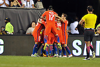 Philadelphia, PA - Tuesday June 14, 2016: Eduardo Vargas celebrates scoring during a Copa America Centenario Group D match between Chile (CHI) and Panama (PAN) at Lincoln Financial Field.