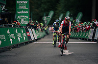 Tom Pidcock (GBR/Wiggins) finishing<br /> <br /> Racing in/around Lake District National Parc / Cumbria<br /> <br /> Stage 6: Barrow-in-Furness to Whinlatter Pass   (168km)<br /> 15th Ovo Energy Tour of Britain 2018