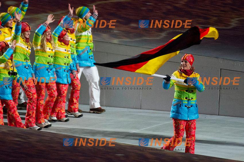 La squadra della Germania con la divisa Arcobaleno <br /> 07.02.2014, Olympiastadion Fischt, Adlerer<br /> Cerimonia Inaugurale Apertura <br /> Sochi 2014 Olimpiadi Invernali. Olympic Winter Games <br /> Foto Urs Lindt/freshfocus