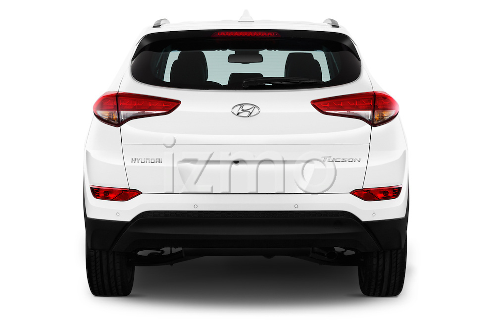 Straight rear view of 2015 Hyundai Tucson Launch Edition 5 Door Suv Rear View  stock images