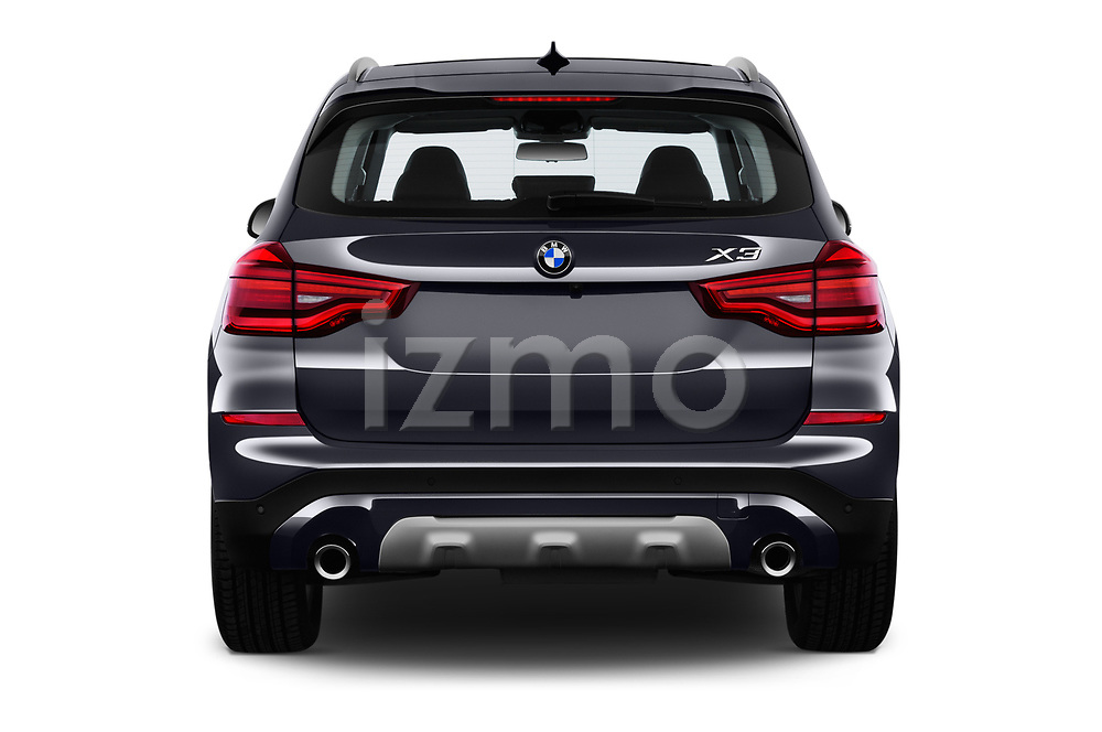 Straight rear view of a 2018 BMW X3 xLine 5 Door SUV stock images