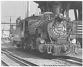 Pilot end, engineer side angle view of K-36 #480 being serviced in Salida.<br /> D&amp;RGW  Salida, CO  Taken by Horan, John F. - 7/1955