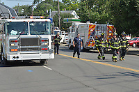New Haven Fire Department & EMS activity at a Two alarm Fire during Heat Wave. Ella Grasso Boulevard at Kimberley Avenue | 16 July 2013