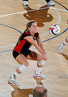 WKU defensive specialist Ashley Potts (2) plays against Florida International in the semi-finals of the Sunbelt Conference Volleyball Tournament.  Western Kentucky won the match 3-0 on November 18, 2011 at Miami, Florida. .