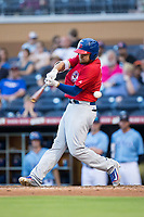 Rowdy Tellez (21) of the Buffalo Bisons swings and misses at a pitch during the game against the Durham Bulls at Durham Bulls Athletic Park on April 30, 2017 in Durham, North Carolina.  The Bisons defeated the Bulls 6-1.  (Brian Westerholt/Four Seam Images)