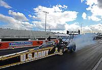 Jan. 16, 2013; Jupiter, FL, USA: NHRA top fuel dragster driver Tony Schumacher during testing at the PRO Winter Warmup at Palm Beach International Raceway.  Mandatory Credit: Mark J. Rebilas-