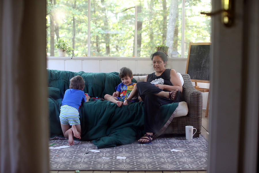 am, Cohen, Cooper on back porch at home in Albemarle County, Va. Photo/Andrew Shurtleff