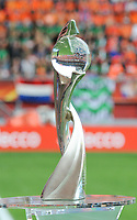 20170806 - ENSCHEDE , NETHERLANDS : Illustration shows the WEURO 2017 trophee  pictured during the female soccer game between The Netherlands and Denmark  , the final at the Women's Euro 2017 , European Championship in The Netherlands 2017 , Sunday 6th of August 2017 at Grolsch Veste Stadion FC Twente in Enschede , The Netherlands PHOTO SPORTPIX.BE | DIRK VUYLSTEKE