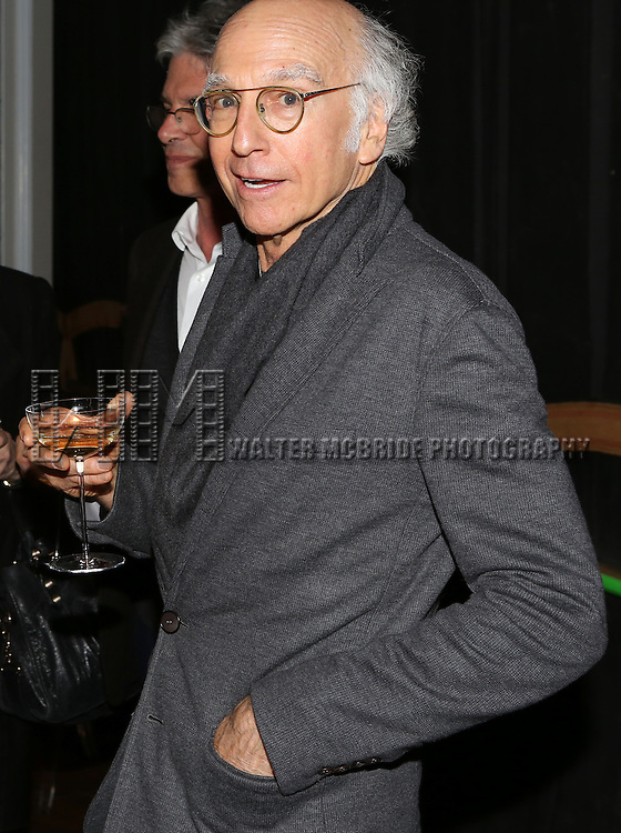 Larry David attend the re-opening night performance backstage reception for 'It's Only A Play' at the Bernard B. Jacobs Theatre on January 23, 2014 in New York City.