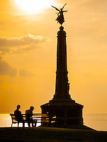 UK Weather: Aberystwyth, Ceredigion, West Wales <br />The sun goes down in the early evening over Aberystwyth.