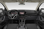 Stock photo of straight dashboard view of 2019 Volkswagen T-Cross Life 5 Door SUV Dashboard